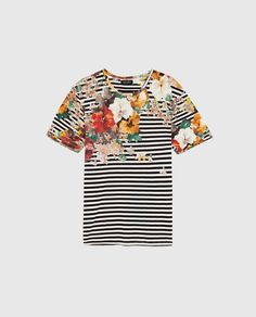 Image 6 of STRIPED FLORAL T-SHIRT from Zara