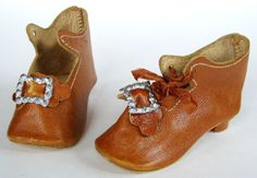 antique doll shoes | Details about Antique German or French Bisque Fashion DOLL SHOES