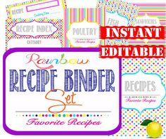 Recipe Binder - Instant Download - Organization Printables Home Management Binder -  32 Documents
