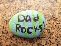 DIY handpainted Father's Day paperweight idea.
