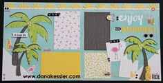 Two Page Summer Calypso Scrapbook Pages Layouts Page Kit Fun Palm Tree Flamingo…