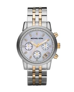 Two-Tone+Chronograph+Watch+by+Michael+Kors+at+Neiman+Marcus.