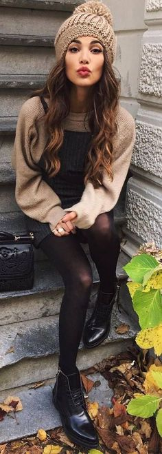 #Winter #Outfits / Beige Sweater + Beanie