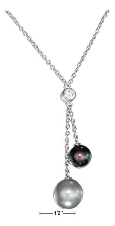 """STERLING SILVER 18"""" CUBIC ZIRCONIA AND FAUX GRAY AND BLACK PEARL LARIAT NECKLACE"""