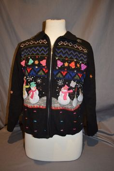 Women's Black Snowman Cardigan Sweater Zipper Up Sz PM Tacky Ugly Christmas #StudioJoy #Cardigan