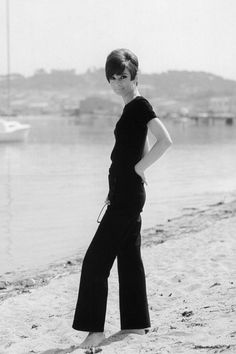 """The actress Audrey Hepburn photographed by Pierluigi Praturlon in the French Riviera (Côte d'Azur), during the filming of """"Two for the Road"""", in June 1966. -Audrey was wearingHermèssailor pants (of the collection for the Spring/Summer of 1965)."""