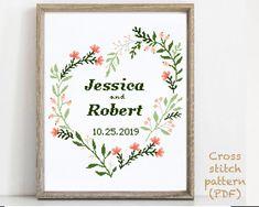 Wedding Cross Stitch Patterns, Modern Cross Stitch Patterns, Pattern Designs, Print Patterns, Alphabet And Numbers, Cross Stitching, Wedding Gifts, Future, Etsy