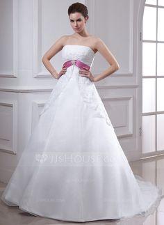 [CA$ 260.91] Forme Empire Sans bretelle Traîne mi-longue Organza Robe de mariée avec Dentelle Ceintures Broche en cristal