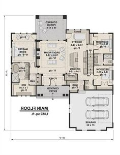 1st Floor Plan JUST REVERSE IT AND HIDE THE PANTRY.