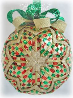 Quilted Christmas Ornament. I used to make these. This one looks like it is made with beautiful Christmas ribbons. Good idea!