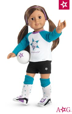 She's geared up and in position to play! This seven-piece set includes: • A jersey with a volleyball graphic • Shorts with a star graphic • Socks with star print • Knee pads • Shoes with elastic laces • A purple headband • A volleyball with star graphic $28