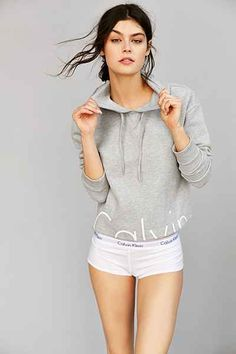 691711b629dabf Calvin Klein For UO Cropped Hoodie Sweatshirt Urban Outfitters Clothes