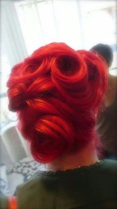 Victory rolls #vintage another possible hairstyle for my wedding Look at this INKY red hair! Likey