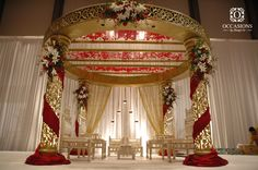 Indian Wedding Decor Company, Occasions by Shangri-La, provides indian wedding mandaps with full service event decor & floral for South Asian weddings. Red Wedding Decorations, Tent Decorations, Wedding Reception Backdrop, Wedding Mandap, Big Fat Indian Wedding, South Asian Wedding, Marriage Hall Decoration, Indian American Weddings, Mandap Design