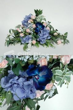 Stunning Top Table with Blue Hydrangea, Pink Roses & Greenery
