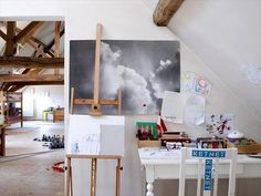 Kids art corner in a modern loft