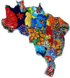 Mapa decorativo (patch work c/ chita) By Mara Morelli/SP