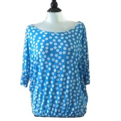 Tee Top Blue Polka Dot Large L Blue & White Polka Dot Top Large L Short Sleeve Elastic Waist Polyester By Sunny Made in USA EUC Trades Sunny Tops Tees - Short Sleeve