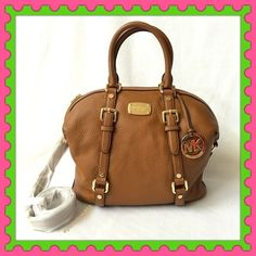 """Authentic Michael Kors Leather Handbag % AUTHENTIC ✨ Beautiful soft leather handbag from Michael Kors  Very versatile. Crossbody, top handle & shoulder bag. Lightweight & very spacious. Approximate measurements: Length 12 1/2"""" Height 10 1/2"""" Width 6"""" w/ adjustable & detachable long strap. Color: Luggage with yellow gold tone hardware. 5 interior pockets. Gorgeous  NO TRADE  PRICE IS FIRM. Michael Kors Bags Satchels"""