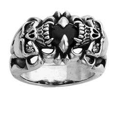Sterling Silver Double Skull Ring with CZ stone sizes 10 to 15: Jewelry: Amazon.com