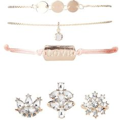 Charlotte Russe Love Embellished Bracelets & Rings - 6 Pack ($7.99) ❤ liked on Polyvore featuring jewelry, rings, gold, triple ring, macrame rings, crochet jewelry, charlotte russe jewelry and stacking rings jewelry