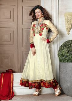 Cream Colored #Anarkali Suit  Check out this page now :-http://www.ethnicwholesaler.com/salwar-kameez