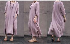 SIMPLE LIVING pink women loose fitting long dress sundresses long sleeve cotton Linen dress original design very comfortable $79.77
