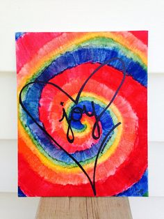 Tie Dye LOVE & JOY 8x10 Canvas Watercolor by Useless2Unique