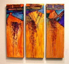 """PERPETUAL MOTION"" 12030, contemporary, mixed media textured abstract triptych © Carol Nelson Fine A"" - Original Fine Art for Sale - © Carol Nelson"
