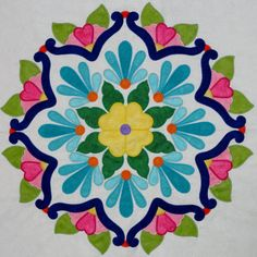 Fiesta de Talavera -- This breathtaking quilt pattern was inspired by painted Mexican Talavera tiles. Nine applique blocks along with an applique border. Finished quilt size is x design by J. Applique Patterns, Mosaic Patterns, Applique Designs, Quilt Pattern, Creeper Minecraft, Embroidery Designs, Quilting Designs, Patchwork Quilting, Applique Quilts