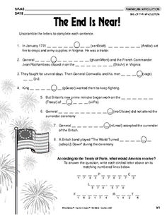 American revolution worksheets middle school