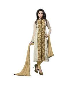 White Cotton Embroidered Designer Salwar Suit