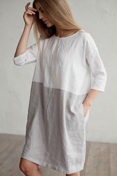 Soft, white and grey linen dress for women in color block. Designed with a loose fit, cocoon shape.