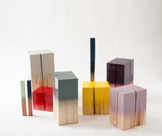 'Trift' laquered wooden objects by Judith Seng, limited edition of 6 pieces cut of the same tree trunk