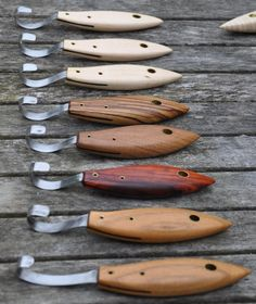 range of spoon knives diffent woods as handles