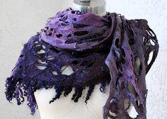 Felted eco-friendly fur light warm purple violet mohair scarf