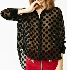 burnout black velvet polka dot button-down blouse