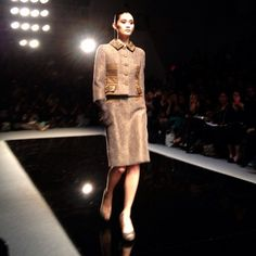 Ming Xi looking gorgeous on the Reem Acra runway. #NYFW
