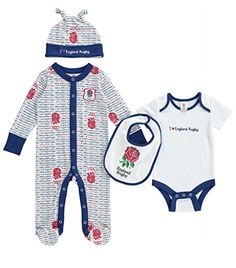 3916fc01dae1c England RFU 2015 16 Infant 4 Piece Scribble Gift Set - White - size 9-12M