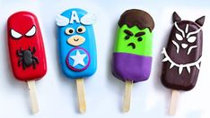 The biggest blockbuster of this year is here!, Celebrate the release of the Avengers Endgame with Nyam Nyam, these perfectly delicious cake will blow your mi. Paletas Chocolate, Tasty Chocolate Cake, Chocolate Fondant, Modeling Chocolate, Best Summer Desserts, Summer Treats, Superhero Cake Pops, Superhero Treats, Superhero Kids
