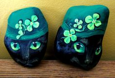 ORIGINAL-OOAK-ST-PATRICKS-DAY-RIVER-ROCK-RYTA-FOLK-ART-BLACK-CAT-Hand-Painted