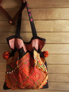 Ethnic Fringe Tote Bag from upcycled tribal textile. Hippie // embroidery // slouch // colorful. $69.00, via Etsy.