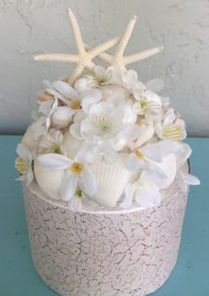 Sea Shell Cake Top Beach Wedding Cake Top Starfish by LCFloral