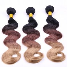 Trendy Body Wave Three Color Gradient 3 Pcs/Lot Long Synthetic Hair Weave For Women #women, #men, #hats, #watches, #belts, #fashion, #style