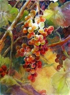 "Képtalálat a következőre: ""grapes painting"" Grape Painting, Fruit Painting, China Painting, Watercolor Fruit, Watercolour Painting, Watercolors, Decoupage Vintage, Fruit Art, Beautiful Paintings"