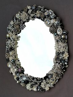 Rhinestone Wall Mirror vintage rhinestone jewelry picture frame repurposed green
