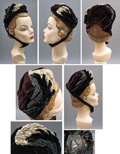 1880s Victorian Wine Velvet Bonnet with Chenille & Beaded Wings