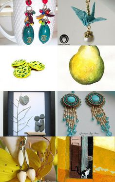 FlorenceJewelshop presents: the blue and yellow golden team by Florence on Etsy--Pinned with TreasuryPin.com