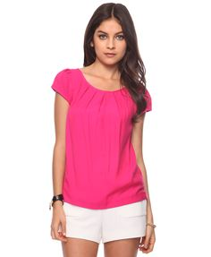 pink short sleeve blouse