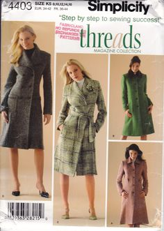 Simplicity 4403 THREADS Collection Coat Single Double Breasted Free Us Ship Sewing Pattern 2005 Size 6/14 6 8 10 12 14 16 by LanetzLiving on Etsy Coat Pattern Sewing, Coat Patterns, Jacket Pattern, Mccalls Patterns, Simplicity Sewing Patterns, Vintage Sewing Patterns, All Fashion, Sewing Clothes, Dressmaking